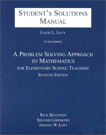9780201611410: Problem Solving Approach to Mathematics for Elementary School Teachers