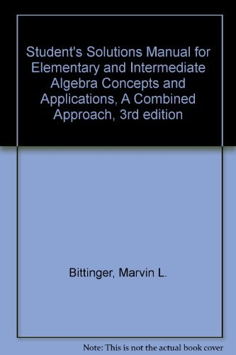 9780201642117: Student's Solutions Manual for Elementary and Intermediate Algebra Concepts and Applications, A Combined Approach, 3rd edition