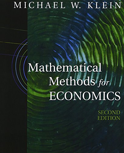 9780201726268: Mathematical Methods for Economics (2nd Edition)