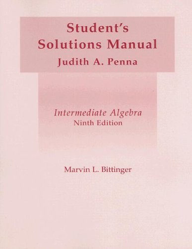 9780201797022: Intermediate Algebra: Student's Solutions Manual