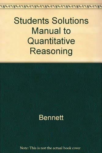 9780201809589: Students Solutions Manual to Quantitative Reasoning