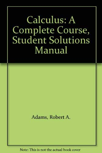 9780201828252: Calculus: A Complete Course, Student Solutions Manual