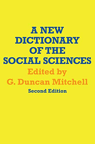 9780202308784: A New Dictionary of the Social Sciences