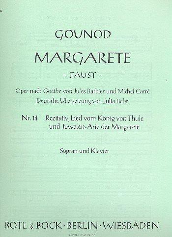 9780202500355: Margarete: Nr. 14 Rezitativ, Lied vom König von Thule und Juwelenarie der Margarete. Sopran und Klavier.