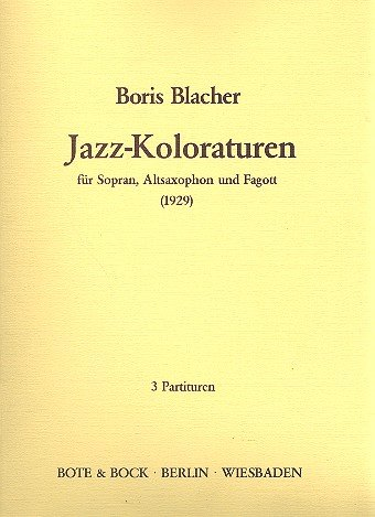 9780202508344: Jazz-Koloraturen - Soprano, Alto Saxophone and Bassoon - SCORE