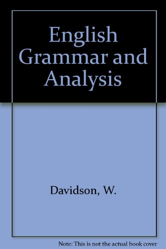 9780204793656: English Grammar and Analysis