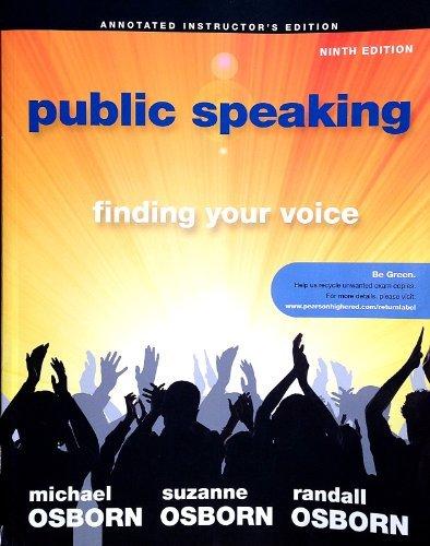 9780205000098: PUBLIC SPEAKING >INSTRS.ANNOT.ED<