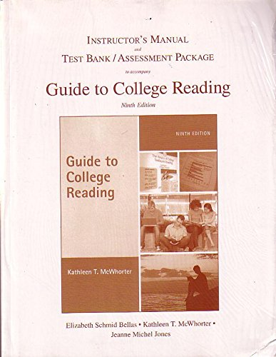 INSTRUCTOR'S MANUAL AND TEST BANK/ASSESSMENT PACKAGE TO ACCOMPANY GUIDE TO COLLEGE ...