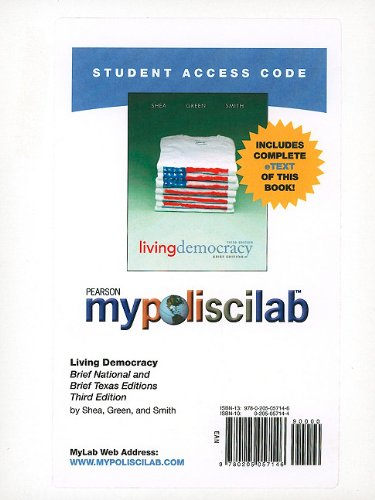 9780205057146: MyPoliSciLab with Pearson eText -- Standalone Access Card -- for Living Democracy (Brief Texas and Brief National Editions)  (3rd Edition) (Mypoliscilab (Access Codes))