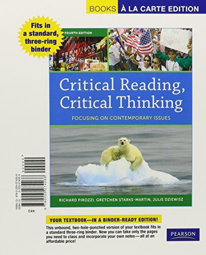 9780205074266: Critical Reading, Critical Thinking: Focusing on Contemporary Issues, Books a la Carte Edition (4th Edition)