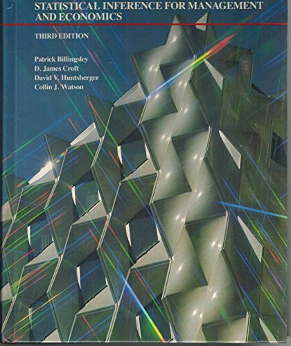 Statistical Inference For Management And Economics. Third Edition.: Billingsley, Patrick and others
