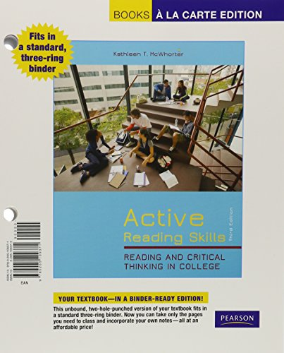 9780205109371: Active Reading Skills: Reading and Critical Thinking in College, Books a la Carte Edition (3rd Edition)