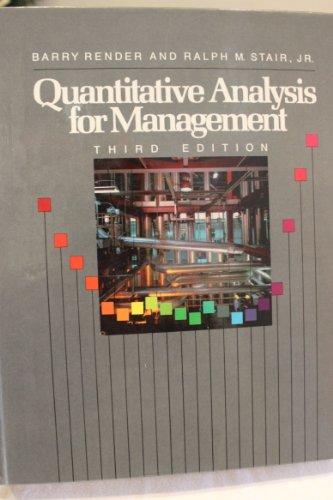 9780205114108: Quantitative Analysis for Management