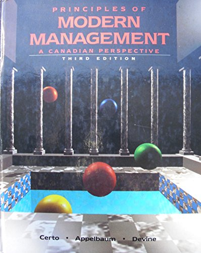 9780205119905: PRINCIPLES OF MODERN MANAGEMENT a Canadian Perspective Third Edition