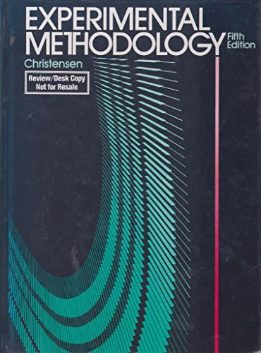 9780205129560: Experimental Methodology