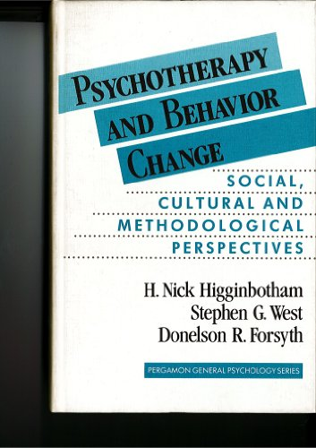 9780205143672: Psychotherapy and Behavior Change: Social, Cultural, and Methodological Perspectives (Pergamon General Psychology Series)