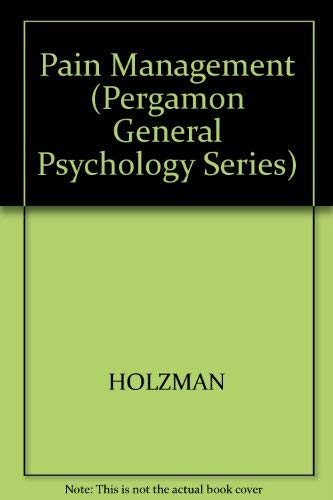 9780205143702: Pain Management: A Handbook of Psychological Treatment Approaches (Pergamon General Psychology Series)