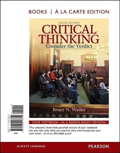 9780205158812: Critical Thinking: Consider the Verdict, Books a la Carte Edition (6th Edition)