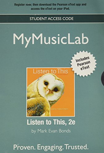9780205177714: NEW MyMusicLab with Pearson eText -- Valuepack Access Card -- for Listen To This