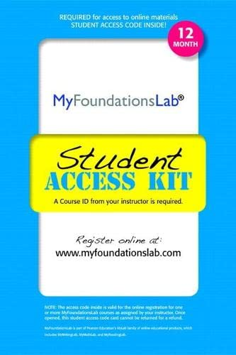 9780205187690: MyFoundationsLab without Pearson eText -- Standalone Access Card (12-month access)