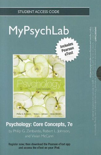 9780205190201: NEW MyPsychLab with Pearson eText -- Standalone Access Card -- for Psychology: Core Concepts (7th Edition) (Mypsychlab (Access Codes))