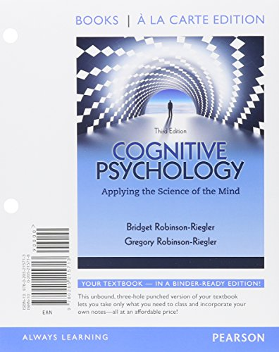 9780205215713: Cognitive Psychology: Applying The Science of the Mind, Books a la Carte Edition (3rd Edition)