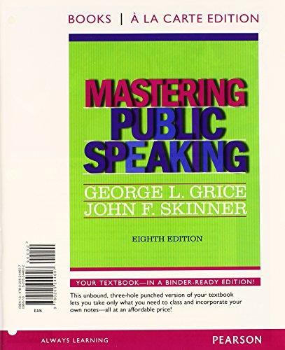 9780205244607: Mastering Public Speaking, Books a la Carte Edition (8th Edition)