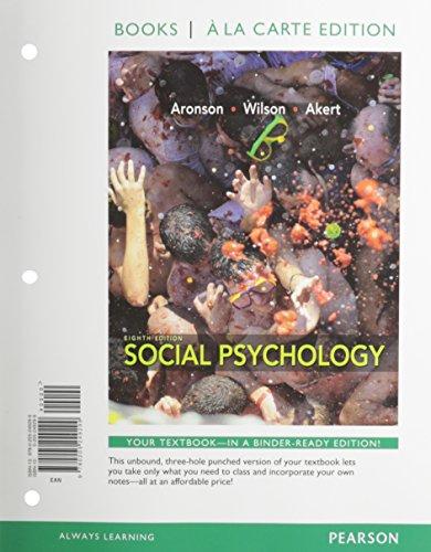 9780205249299: Social Psychology, Books a la Carte Edition (8th Edition)