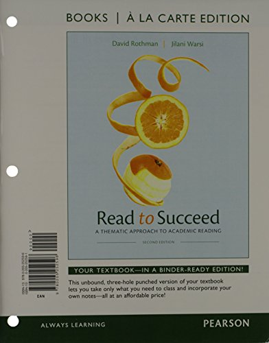 9780205252596: Read to Succeed: A Thematic Approach to Academic, Books a la Carte Edition (2nd Edition)