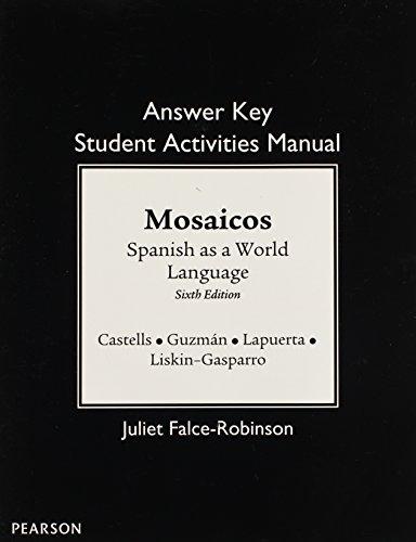 9780205255443: SAM Answer Key for Mosaicos: Spanish as a World Language