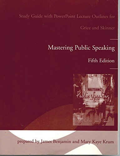 9780205400201: Study Guide with Power Point Lecture Outlines for Mastering Public Speaking, 5th edition