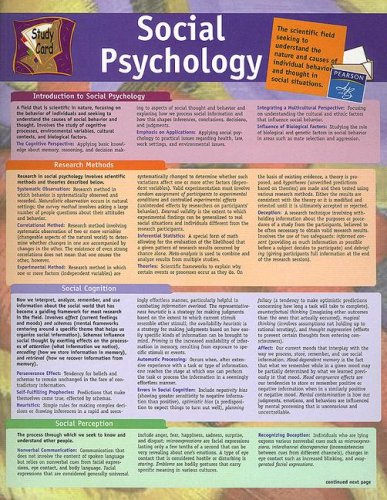 9780205445882: Social Psychology Study Card