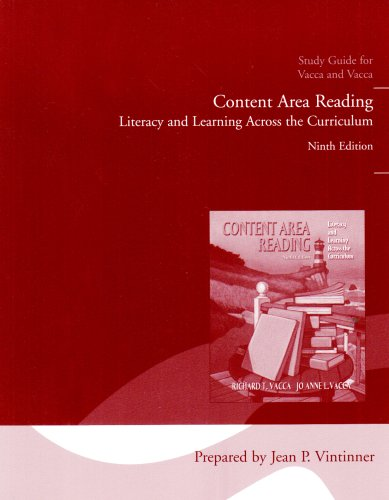 Content Area Reading: Literacy and Learning Across the Curriculum Study Guide: Jo Anne L. Vacca, ...