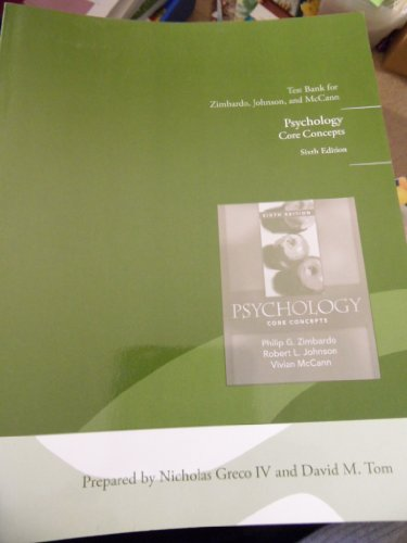 9780205597376: PSYCHOLOGY CORE CONCEPTS 6TH EDITION TEST BANK FOR ZIMBARDO, JOHNSON AND MCCANN