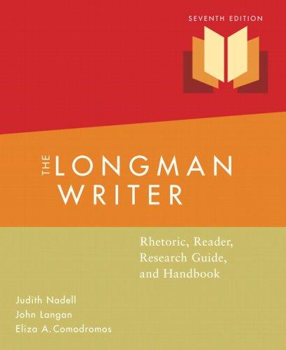 9780205598717: The Longman Writer: Rhetoric, Reader, Research Guide and Handbook