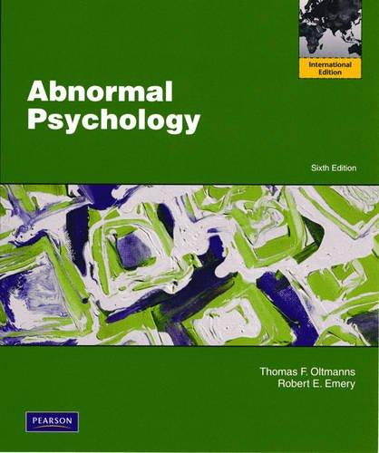 9780205703906: Abnormal Psychology. Thomas F. Oltmanns, Robert E. Emery