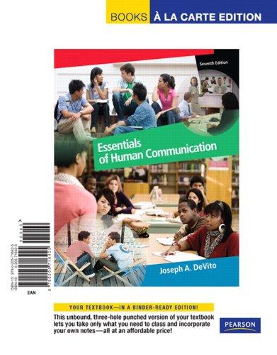9780205716425: Essentials of Human Communication, Books a la Carte Edition (7th Edition)