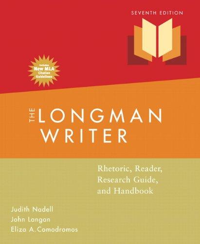 Longman Writer, The, MLA Update Edition: Rhetoric,: Nadell, Judith; Langan,