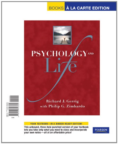 9780205743360: Psychology and Life, Books a la Carte Edition (19th Edition)