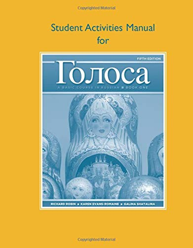 9780205748761: Student Activities Manual for Golosa: A Basic Course in Russian, Book One