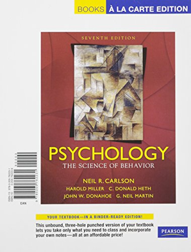 9780205762231: Psychology: The Science of Behavior, Books a la Carte Edition (7th Edition)