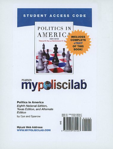 9780205782567: MyPoliSciLab with Pearson eText -- Standalone Access Card -- for Politics in America (8th Edition) (Mypoliscilab (Access Codes))