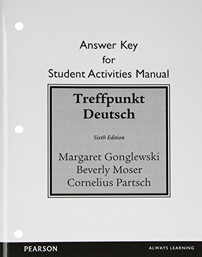 9780205783427: Student Activities Manual Answer Key for Treffpunkt Deutsch: Grundstufe