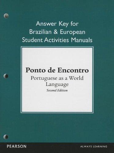 9780205783571: Brazilian and European Student Activities Manual Answer Key for Ponto de Encontro: Portuguese as a World Language