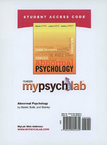 9780205805839: MyPsychLab Student Access Code Card for Abnormal Psychology (standalone) (Mypsychlab (Access Codes))