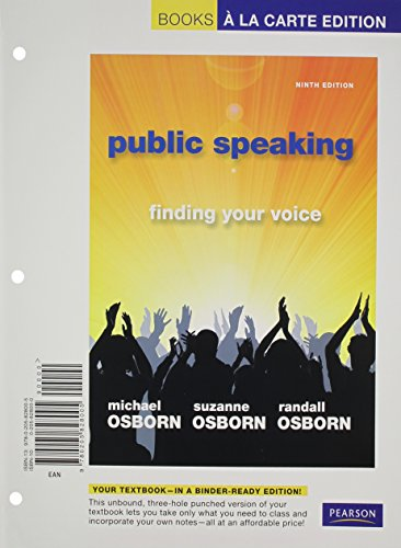 9780205828005: Public Speaking: Finding Your Voice, Books a la Carte Edition (9th Edition)