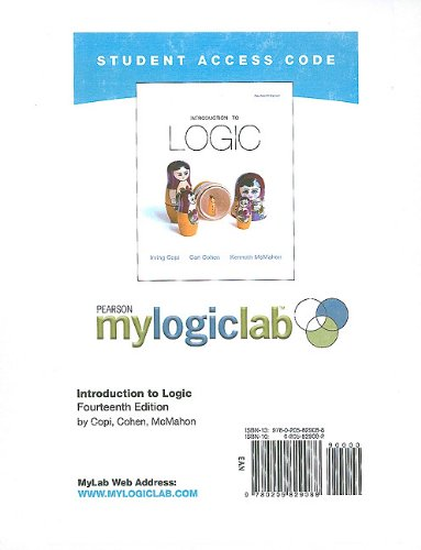 9780205829088: MyLogicLab without Pearson eText -- Standalone Access Card -- for Introduction to Logic (14th Edition) (mylogiclab (Access Codes))
