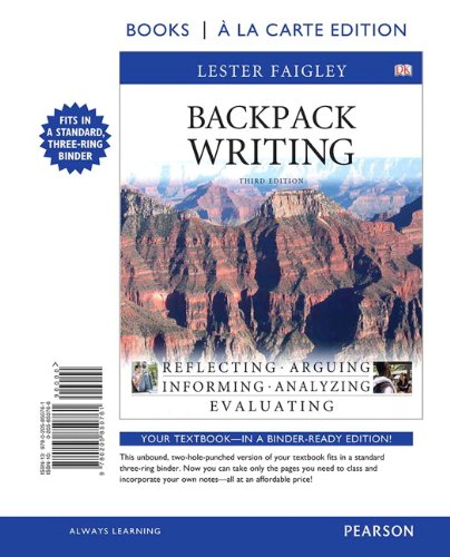 9780205850761: Backpack Writing, Books a la Carte Edition (3rd Edition)