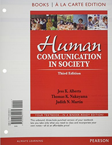 9780205855575: Human Communication in Society, Books a la Carte Edition (3rd Edition)