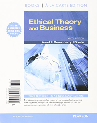 9780205859177: Ethical Theory and Business, Books a la Carte Edition (9th Edition)